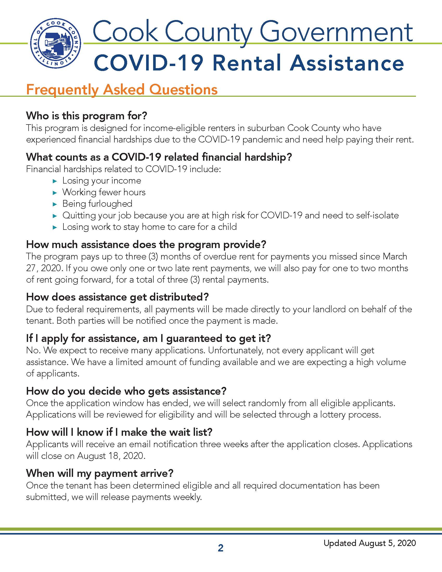 Cook County COVID-19 Recovery - Rental Assistance Overview Page 2