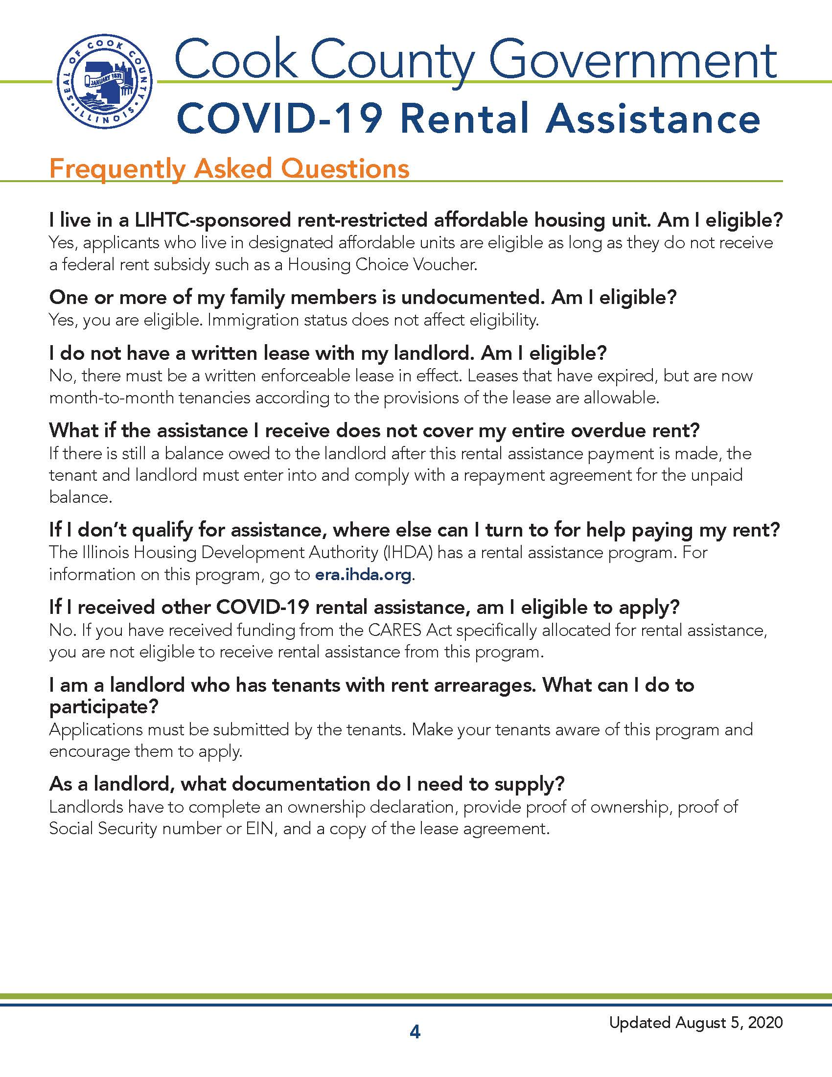 Cook County COVID-19 Recovery - Rental Assistance Overview Page 4