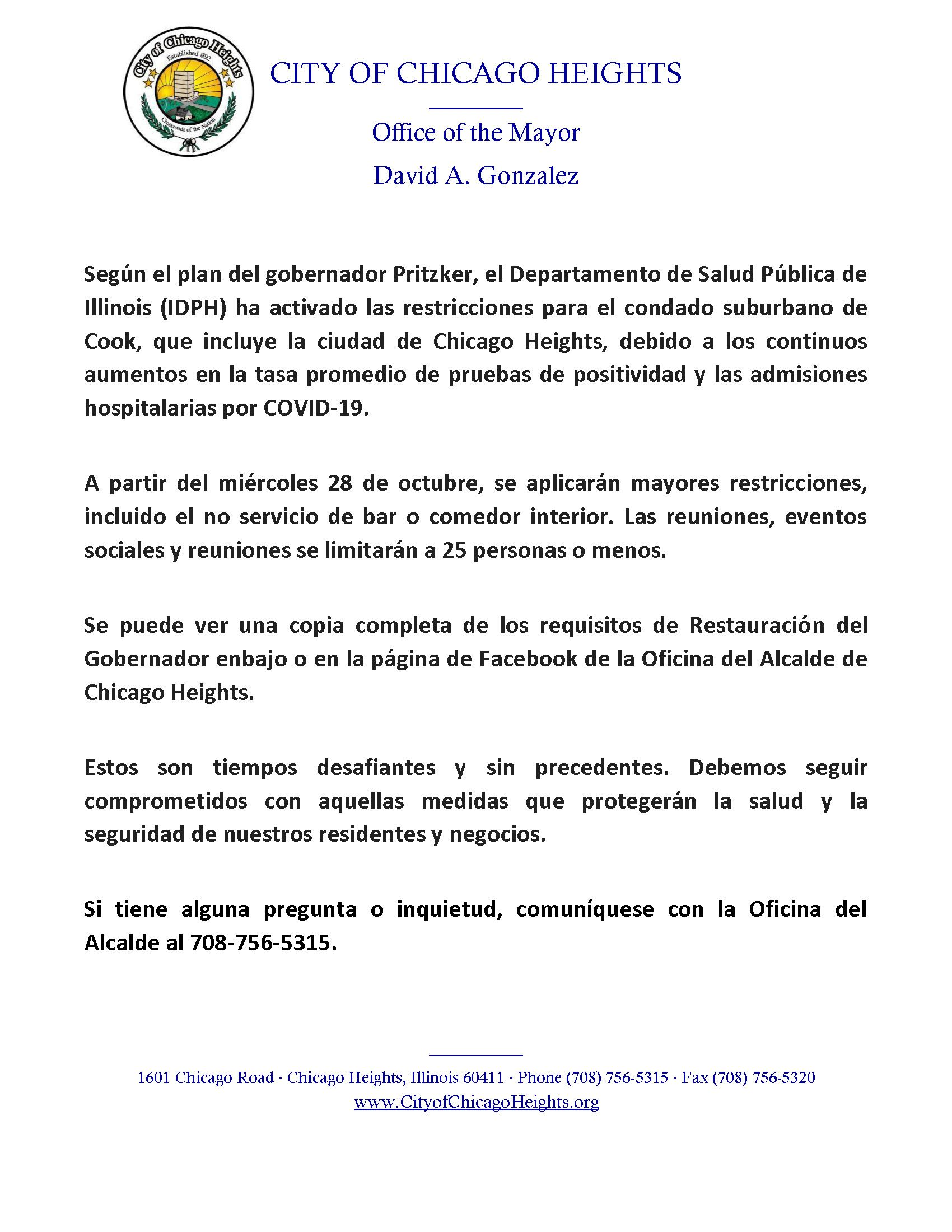 COVID 19 Website Notice Spanish October 28 2020